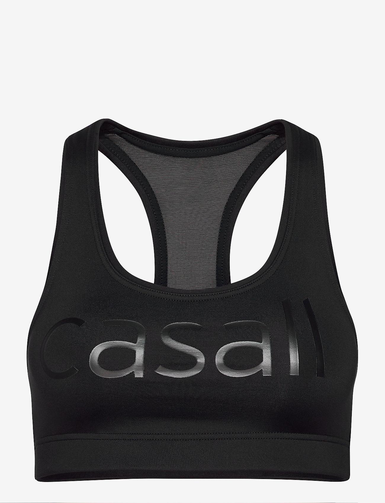 Casall - Iconic wool sports bra - sort bras:high - black logo - 0