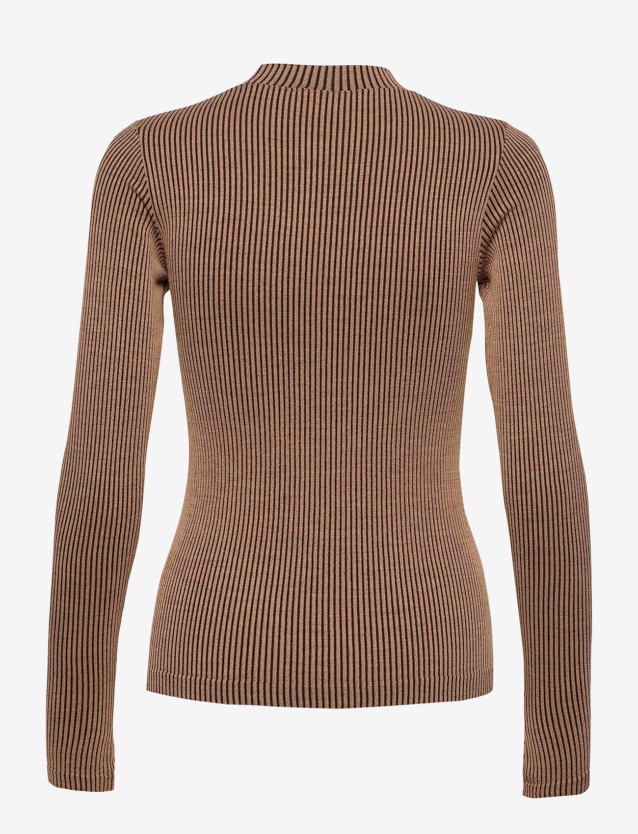 Casall - Wool Rib Long Sleeve - bluzki z długim rękawem - black beige rib - 1