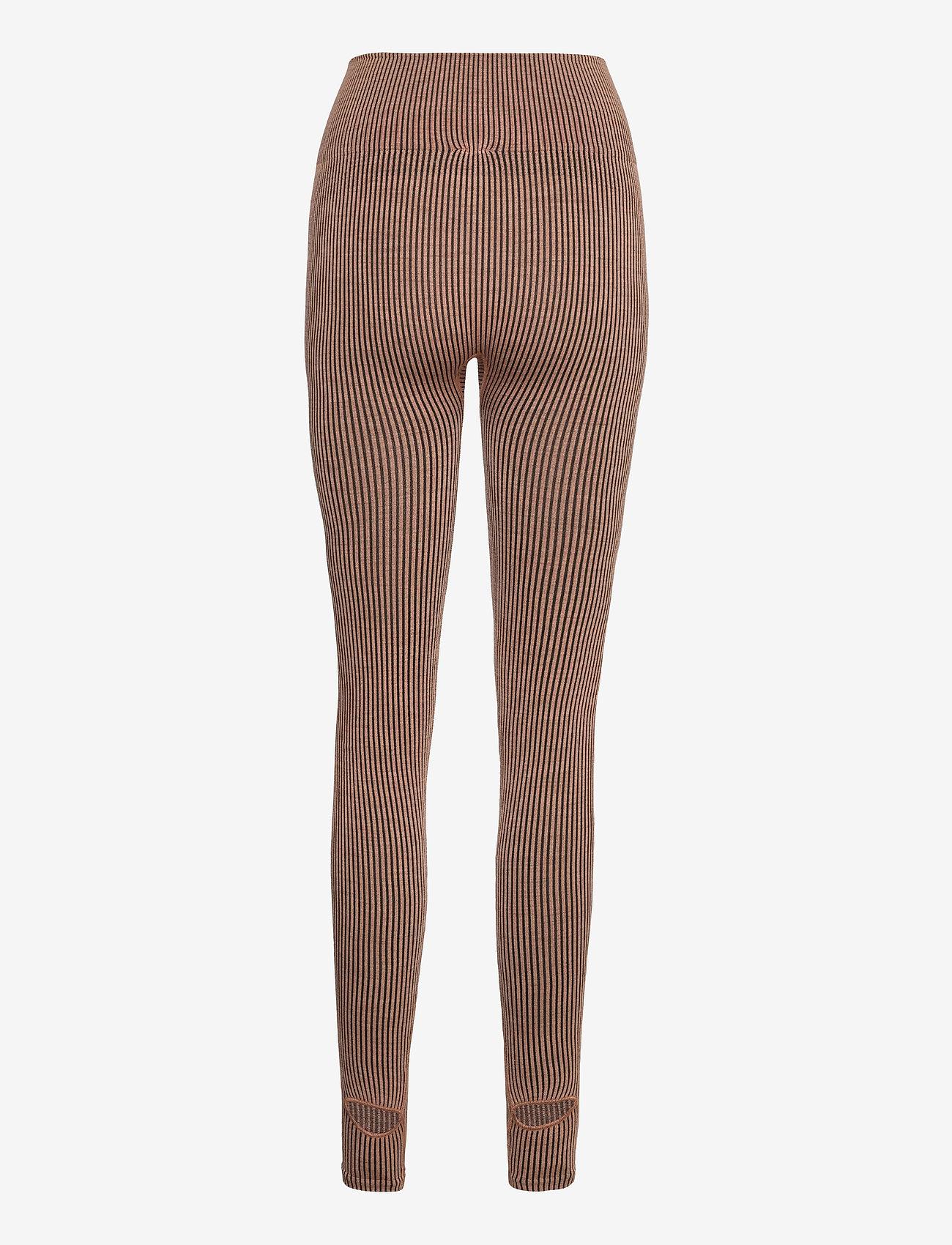 Casall - Wool Rib Tights - running & training tights - black beige rib - 1