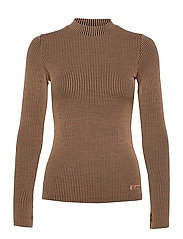 Wool Rib Long Sleeve - BLACK BEIGE RIB