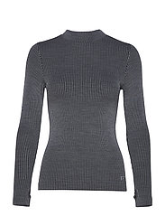 Wool Rib Long Sleeve - BLACK GREY RIB