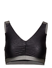 Leatherlike Glam Sports Top - BLACK