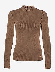 Casall - Wool Rib Long Sleeve - bluzki z długim rękawem - black beige rib - 0