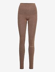 Casall - Wool Rib Tights - running & training tights - black beige rib - 0