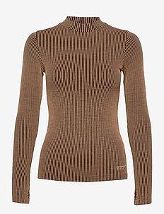 Wool Rib Long Sleeve - langærmede toppe - black beige rib