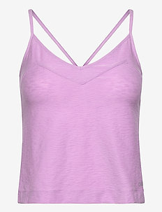 Glam Texture Strap Tank - tank tops - flexible purple