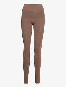 Wool Rib Tights - running & training tights - black beige rib