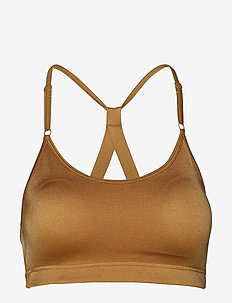Strappy Sports Bra - sport-bh: hög - golden metallic