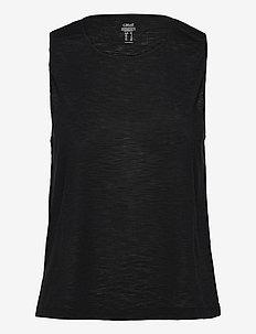 Texture Muscle Tank - tank tops - black