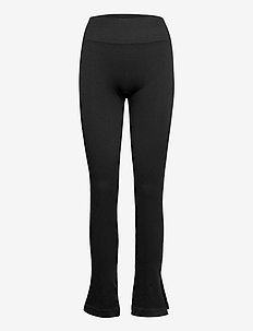 Seamless Rib Slit Pants - treenihousut - black