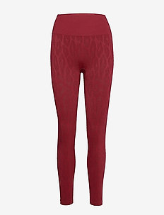 Seamless Leo Tights - running & training tights - moving red