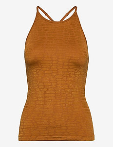Shiny Alligator Seamless Strap Tank - linnen - hazel brown