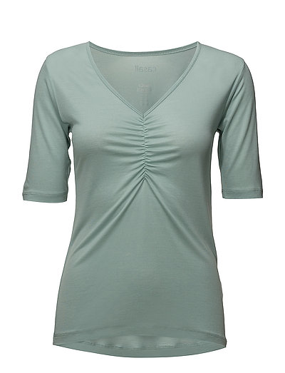 Gathered front tee - SAGE GREEN
