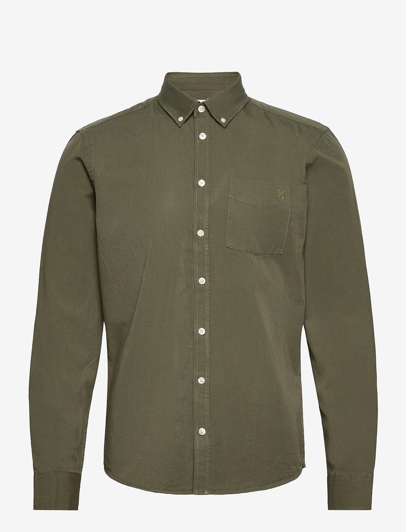 Casual Friday - Anton BD LS garment dyed shirt - vêtements - olivine - 0