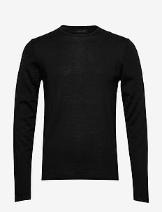 Kent Merino Crew Neck Knit - basic gebreide truien - black