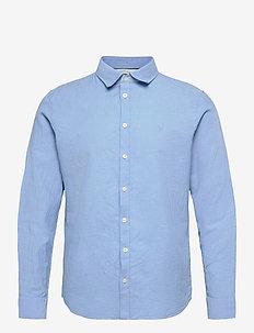 Anton LS detachable collar linen sh - chemises basiques - della robbia blue
