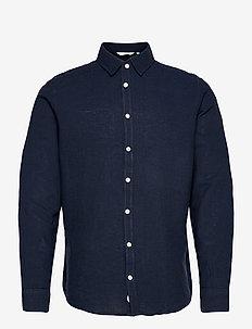 Anton LS detachable collar linen sh - chemises basiques - navy blazer