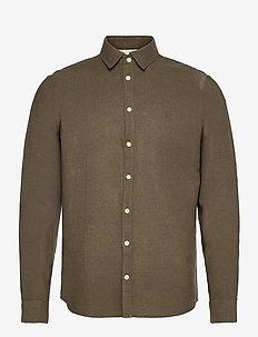 Anton LS detachable collar linen sh - chemises basiques - sea turtle