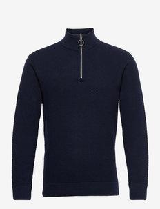 Karlo structured zipper knit - half zip - navy blazer