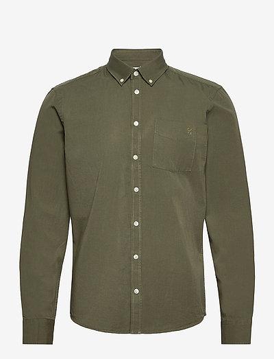 Anton BD LS garment dyed shirt - vêtements - olivine