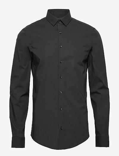 Palle slim fit shirt - linneskjortor - black