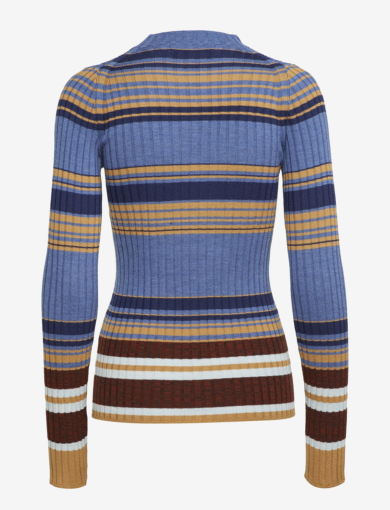 Cathrine Hammel Weave Striped Sweater - Stickat Thunder Blue Stripes