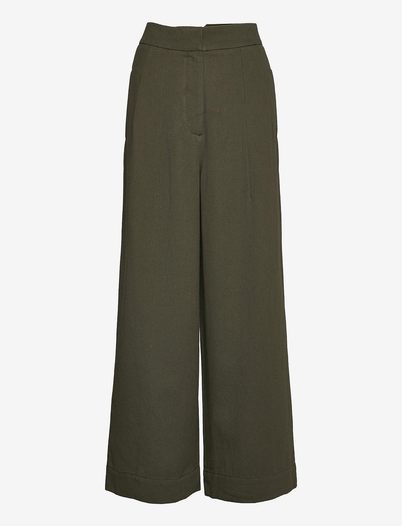 Cathrine Hammel - Twill wide leg pants - bukser med brede ben - army green - 0