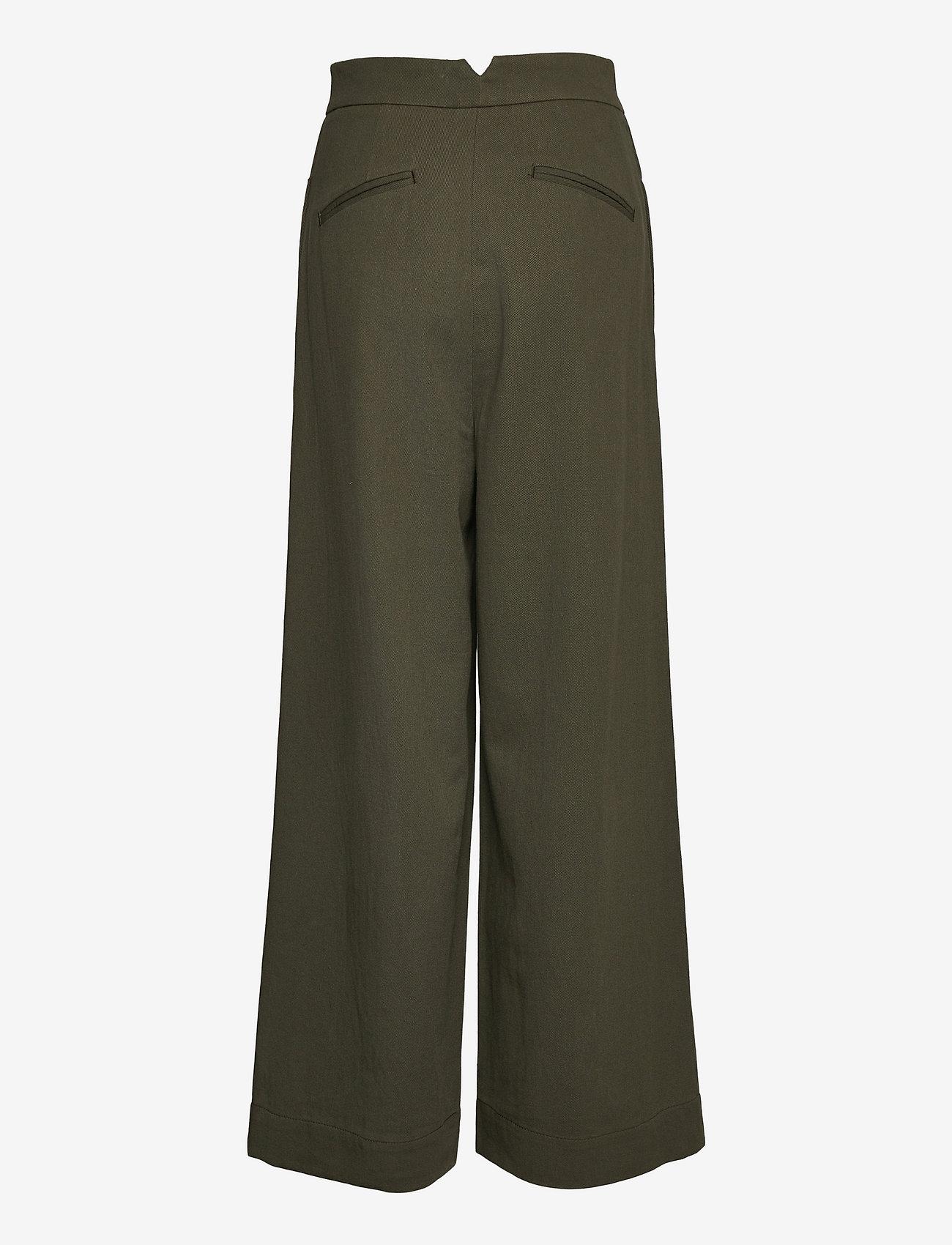Cathrine Hammel - Twill wide leg pants - bukser med brede ben - army green - 1