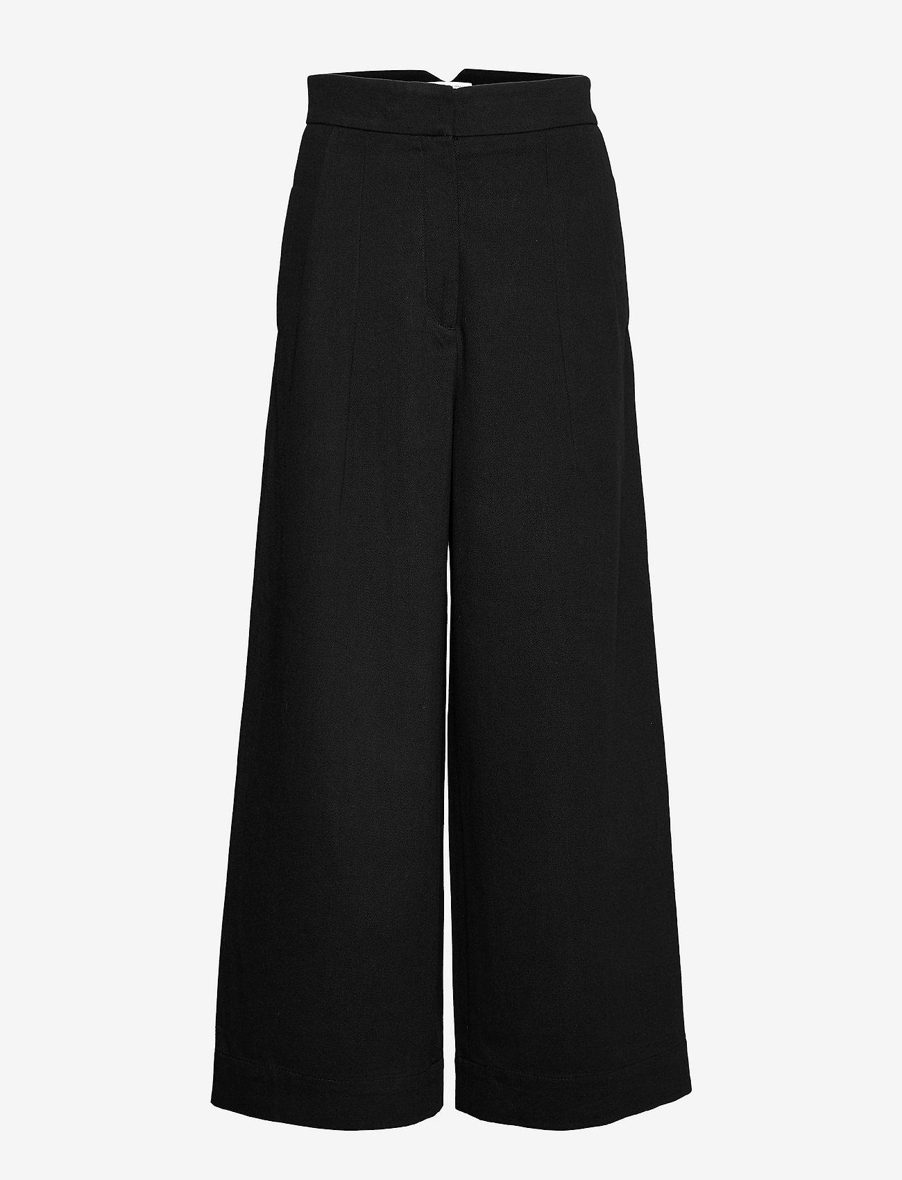 Cathrine Hammel - Twill wide leg pants - bukser med brede ben - black - 0