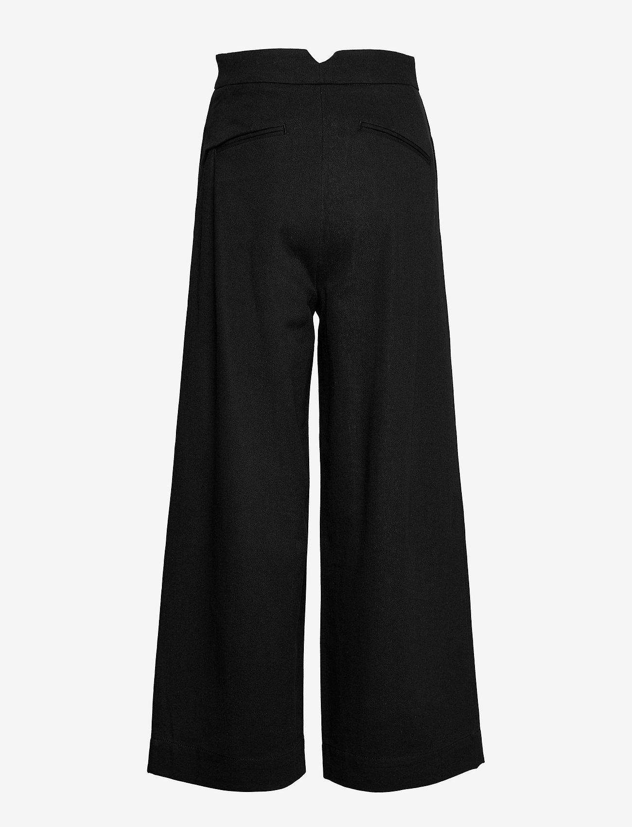 Cathrine Hammel - Twill wide leg pants - bukser med brede ben - black - 1
