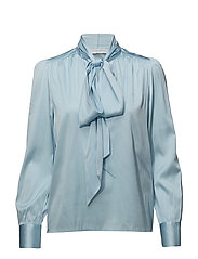 Pussy bow top - COOL BLUE