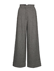 Cathrine Hammel Herringbone wide leg pants - SALT AND PEPPER TWEED