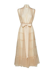 Tiered tulle dress - OATMEAL