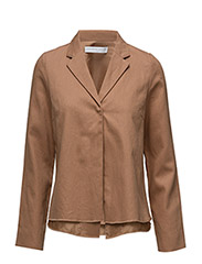 Linen twill blazer - CARAMEL