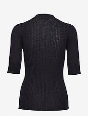 Cathrine Hammel - Ribbed crewneck w/ elbow sleeve - knitted tops & t-shirts - dark ink blue - 1