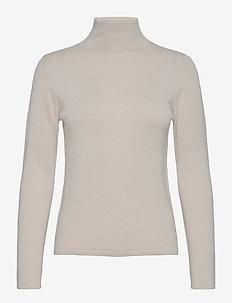 Merino turtleneck sweater - turtlenecks - white bone melange