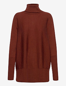 Wide turtleneck - pologenser - dark red melange