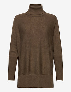 Wide turtleneck - turtlenecks - taupe melange