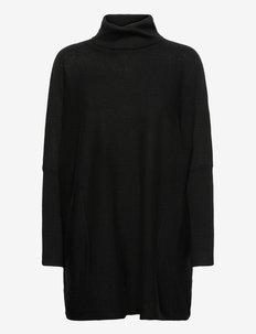 Merino long wide turtleneck - turtlenecks - black