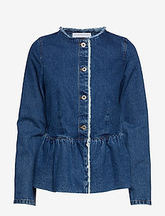 Denim peplum jacket - VINTAGE BLUE WASH