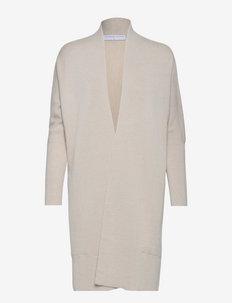 Merino demi shawl cardigan - cardigans - white bone melange