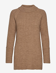Wool chunky rib long sweater - CAMEL MELANGE