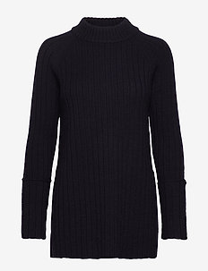 Wool chunky rib long sweater - DARK INK BLUE