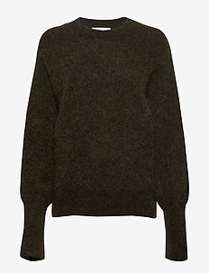Soft rounded sweater - DARK OLIVE MELANGE