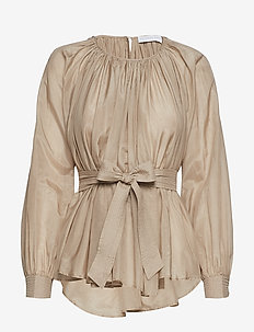 Sheer gathered blouse - CAMEL