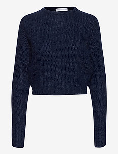 Woolly ribbed girlfriend sweater - gensere - dark blue