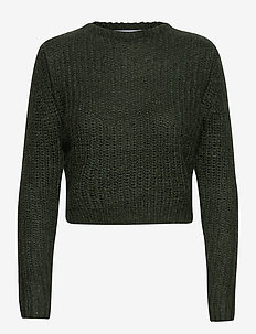 Woolly ribbed girlfriend sweater - gensere - dark green