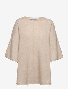 Soft demi curvy poncho - ponchos & capes - warm grey
