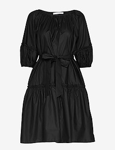 Midi short sleeve dress - BLACK