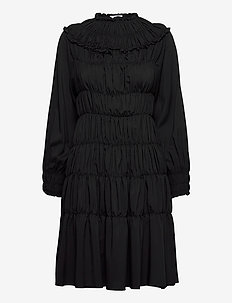 Gathered midi dress - midi kjoler - black